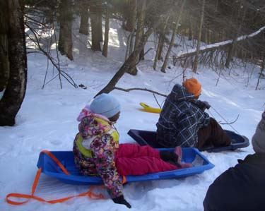 sledding top of hill